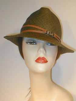 Panama Pinch Front Fedora with Double Leather Band and Silver Buckle.