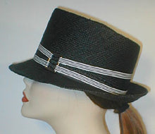 Load image into Gallery viewer, Panama Teardrop Fedora with Stripped Grosgrain Bands and Silver Buckle.