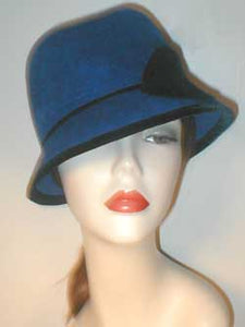 Velour Center Crease Fedora with Velvet and Self Accents.