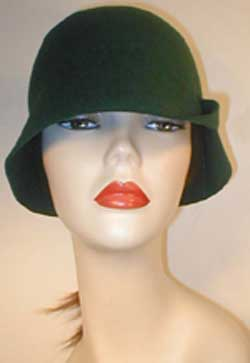 Velour Cloche with Flaps and Leather X's.