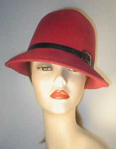 Velour Teardrop Fedora with Silver Buckle and Lambskin Band.