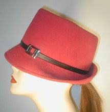 Load image into Gallery viewer, Velour Teardrop Fedora with Silver Buckle and Lambskin Band.