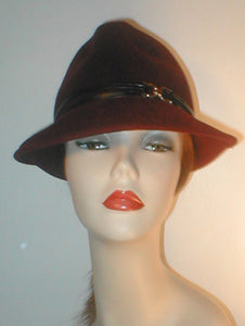 Velour Fedora with Lambskin Band and Silver Ring Accent.