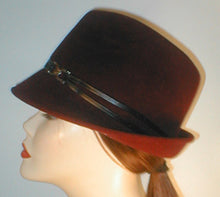 Load image into Gallery viewer, Velour Fedora with Lambskin Band and Silver Ring Accent.