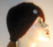 Load image into Gallery viewer, Hand Crocheted Wool Ski with Gather and Rhinestone Accent