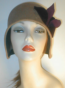 Velour Hand Shaped Cloche with Contrasting Accent