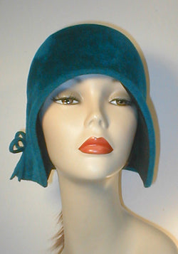 Velour Freeform Cloche with Gathered Bow Accent.