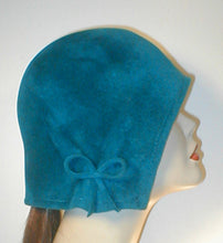 Load image into Gallery viewer, Velour Freeform Cloche with Gathered Bow Accent.