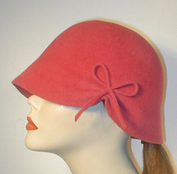 Velour Cloche with Gathered Bow