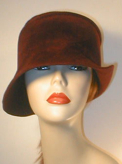 Velour Freeform Cloche with Asymmetrical Brim.