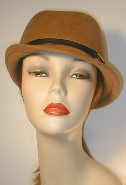 Velour Stingy Brim Fedora with Leather Band and Silver Buckle.