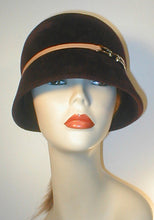 Load image into Gallery viewer, Velour Cloche with Leather Band and Silver Buckle.