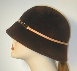 Velour Cloche with Leather Band and Silver Buckle.