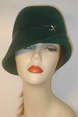 Velour Center Crease Cloche with Flip Brim.