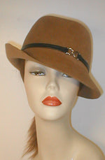 Velour Center Crease Fedora with Flip Brim.
