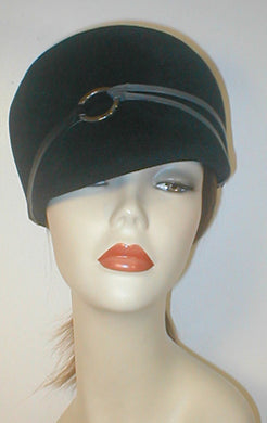 Velour 60's Style cap with Leather Accent.