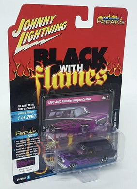 Johnny Lightning black with flames 1960 AMC rambler wagon custom - Gonzo's Garage