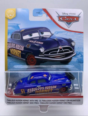 Disney Pixar cars fabulous Hudson hornet with tire - Gonzo's Garage
