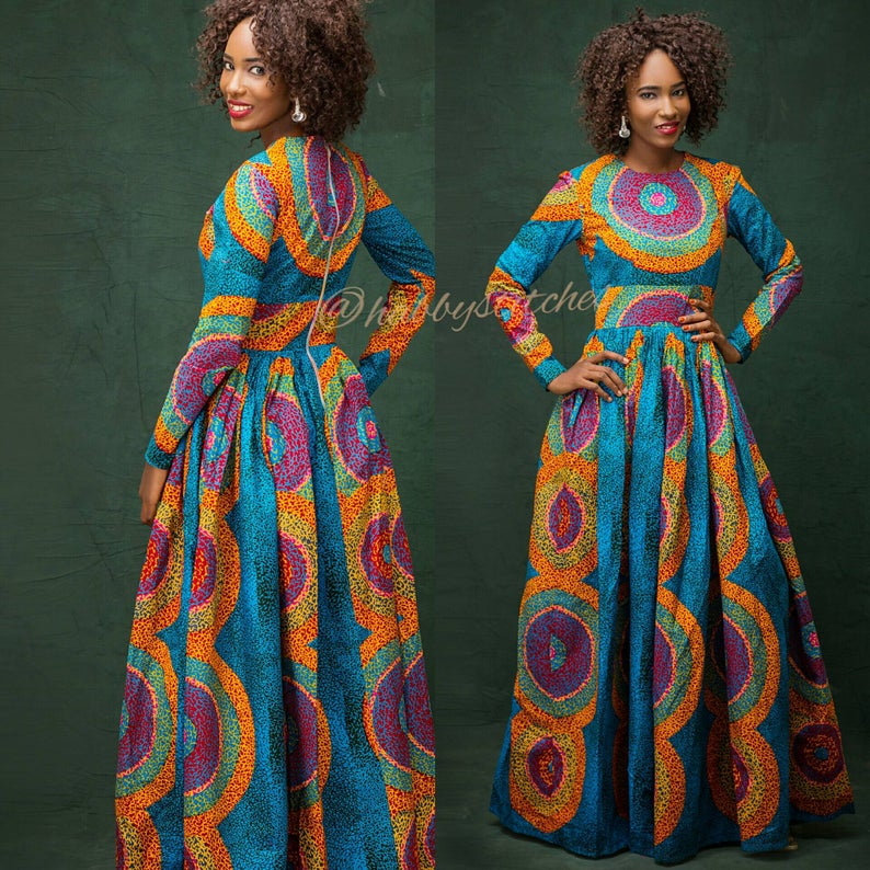 Long Sleeve Ankara Dress with Pockets
