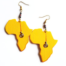 yellow wood Africa shaped earrings