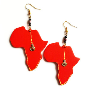 Red wood Africa Shaped Earrings