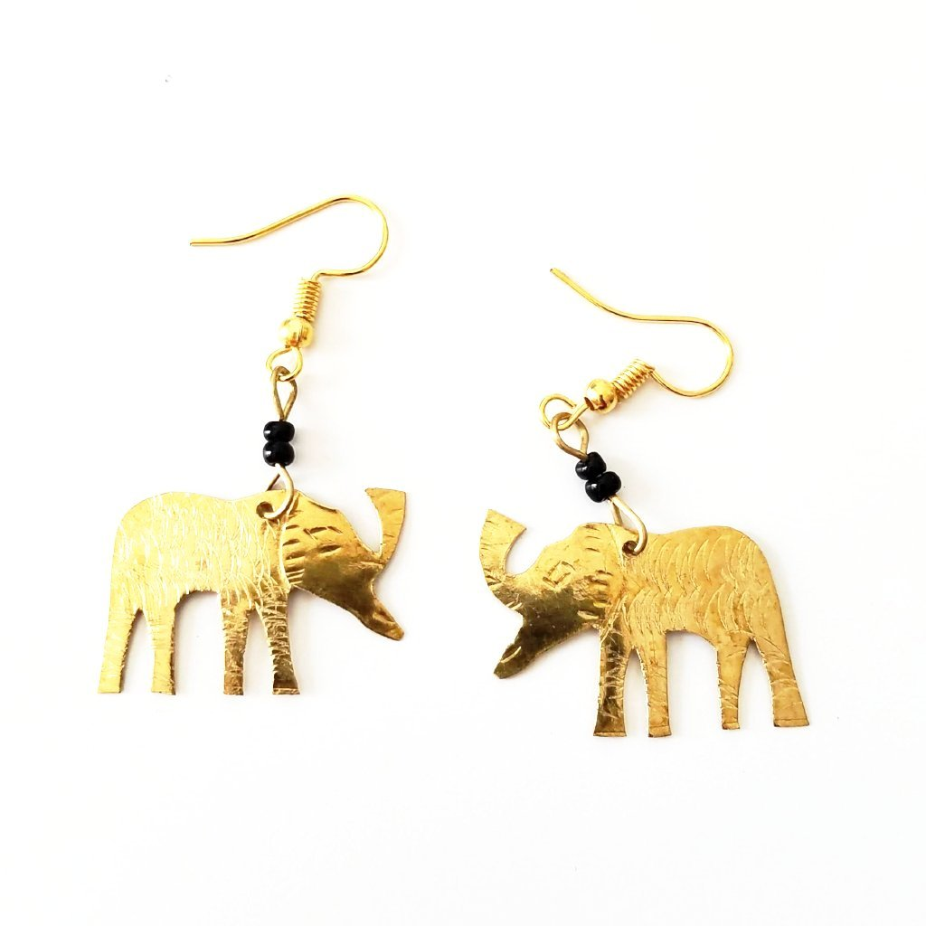 Little Elephant Gold African Earrings - The Afropolitan Shop