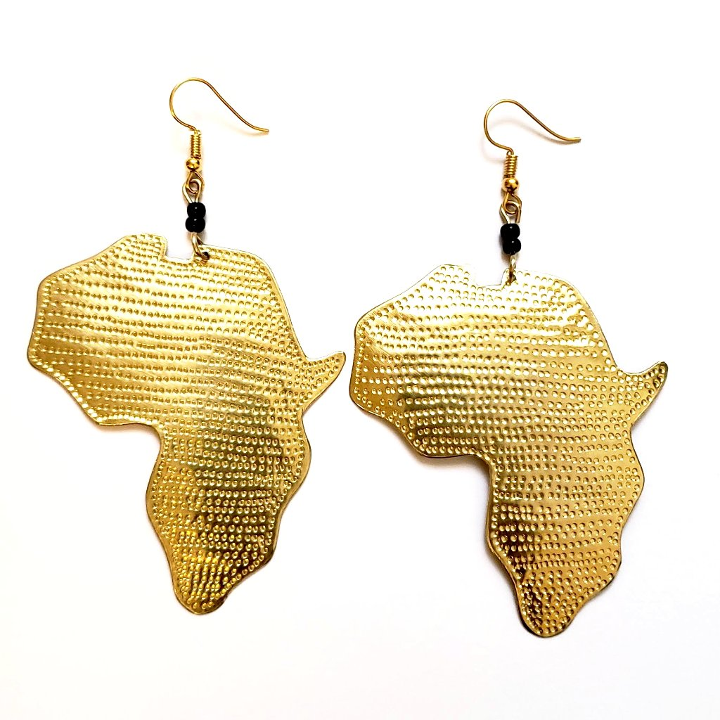 Maridadi Gold Africa Map Earrings