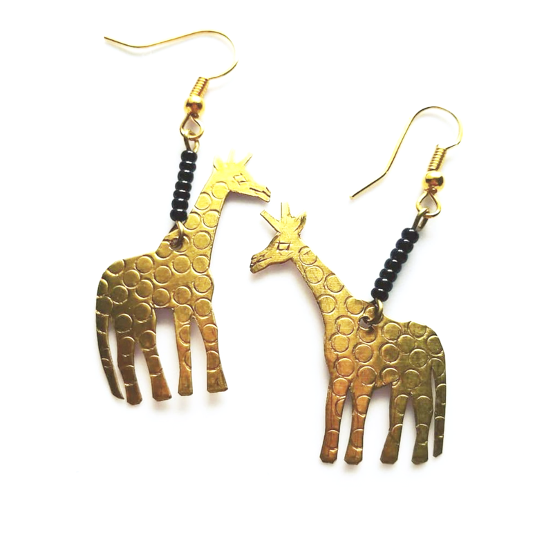 Little Giraffes Gold African Earrings - The Afropolitan Shop