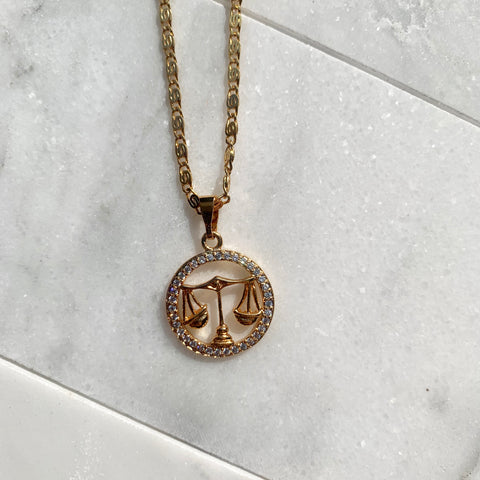 Zodiac Libra Gold Necklace-Au+ORA