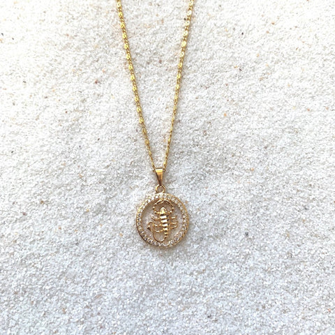 Zodiac Scorpio Gold Necklace-Au+ORA