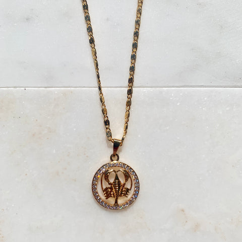 Zodiac Cancer Gold Necklace-Au+ORA