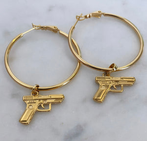 AUORA GUN Gold Hoops Earrings