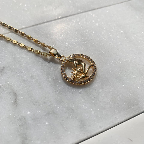 Zodiac Virgo Gold Necklace-Au+ORA