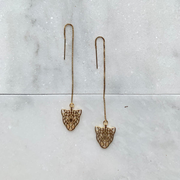 "14k Gold Filled 3"" Threader Tiger Earrings"