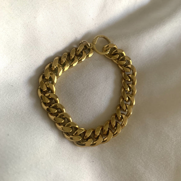 Au.ORA Higher Love Thick Gold Chain Bracelet