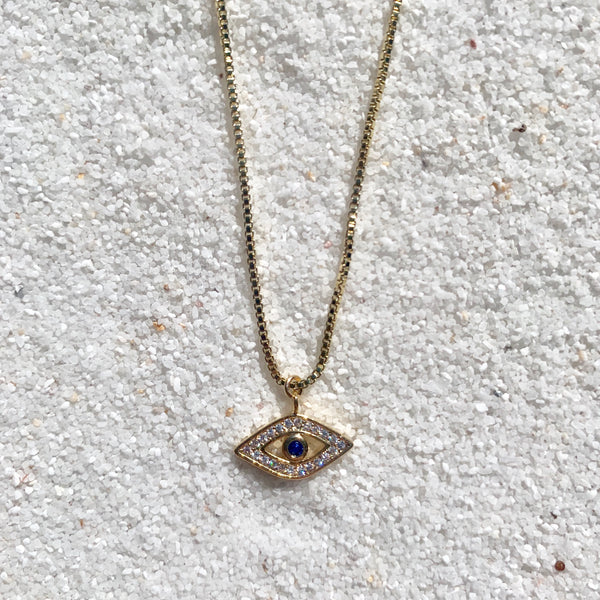 Rhiannon Necklace - 14k Gold Filled Chain and Evil Eye Charm Necklace-Au+ORA