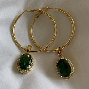 Emerald Jeweled Hoops-Au+ORA