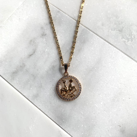 Zodiac Gemini Gold Necklace-Au+ORA
