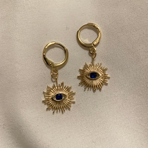 The Cure Blue Sun Protector 18k Huggie Earrings-Au+ORA