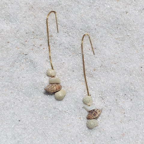 Kokomo Seashell Threaders Earrings-Au+ORA