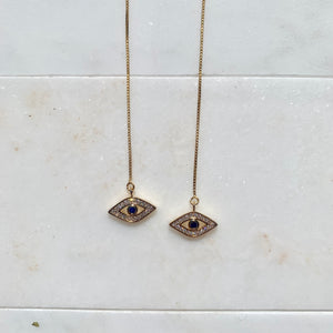 Rhiannon Evil - 14k Gold Filled Threader Evil Eye Earrings-Au+ORA