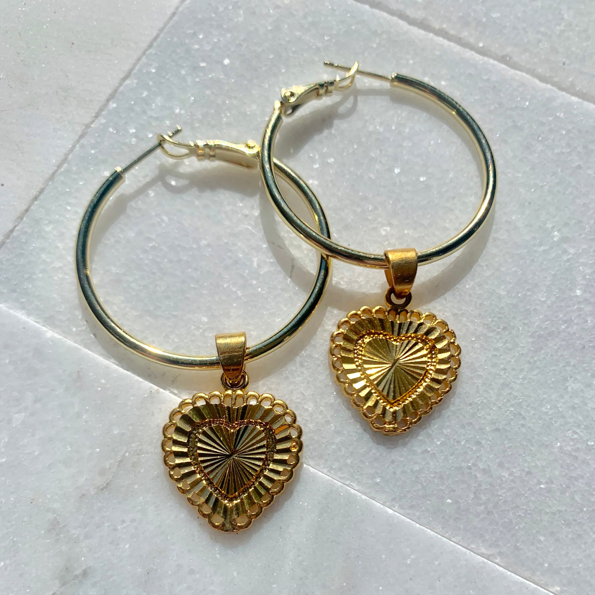 18k Gold Filled Heart Earrings