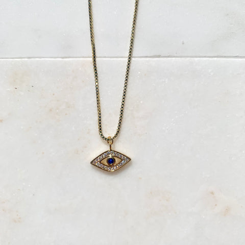 14k Gold Filled Chain and Evil Eye Charm Necklace