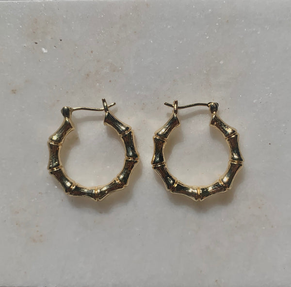 Paradise Hoops - 18K Gold Bamboo Earrings-Au+ORA