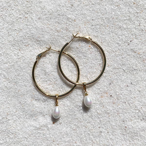 Ocean Eyes - 18k Gold Filled Hoops with Teardrop Pearl Bead