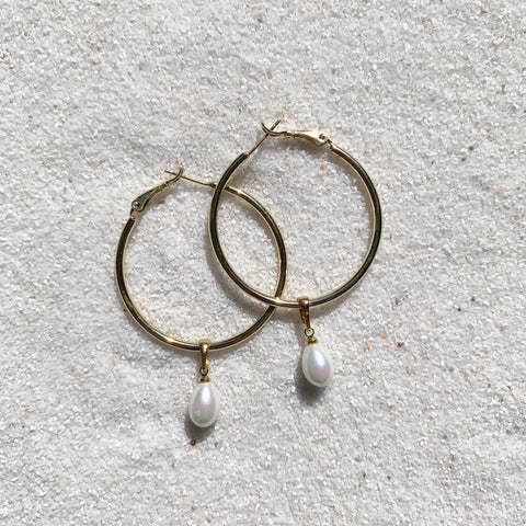 Ocean Eyes - 18k Gold Filled Hoops with Teardrop Pearl Bead-Au+ORA