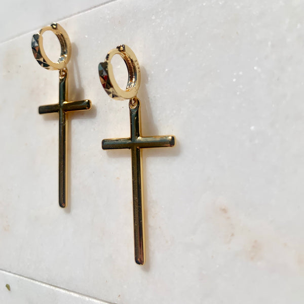 Nothing Compares To You - 18k Gold Filled Solid Cross Earrings-Au+ORA