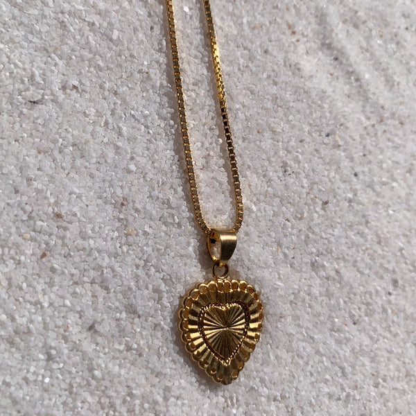 18k Gold Necklace Heart Charm