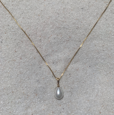 18k Gold Chain with Teardrop Pearl Necklace