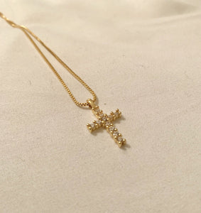 Hold Me Now Gold Cross Necklace-Au+ORA
